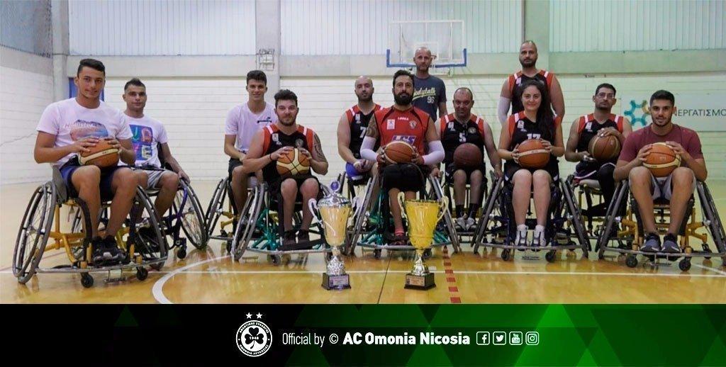 Ποδοσφαιριστές της ΟΜΟΝΟΙΑΣ συμμετέχουν σε αγώνα μπάσκετ με τη Nicosia Team Rollers